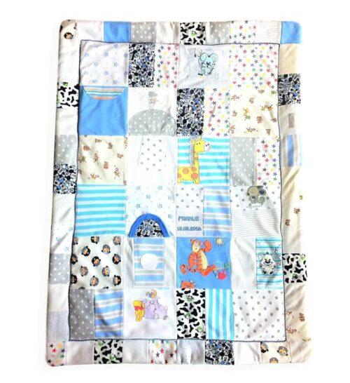 zszywamy wspomnienia kocyk patchwork z ubranek dzieciecych