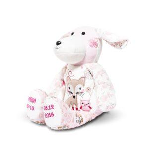 Pies pluszak z ubranek dzieciecych