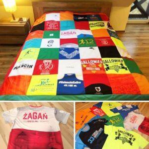 Narzuta patchwork z koszulek